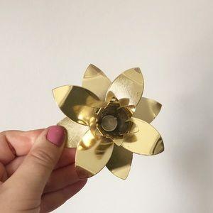Vintage Accents - Vintage Gold Lotus Flower Candlestick Holder Set